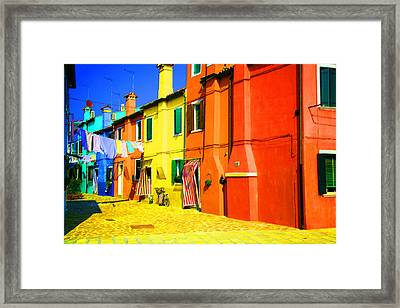Laundry Between Chimneys Framed Print by Donna Corless