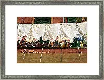 Laundry Day The Italian Way Framed Print by Lynn Andrews