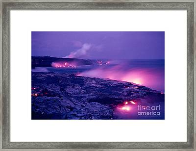 Lava Flows To The Sea Framed Print by Mary Van de Ven - Printscapes