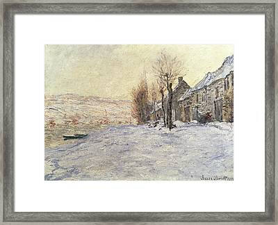 Lavacourt Under Snow Framed Print by Claude Monet