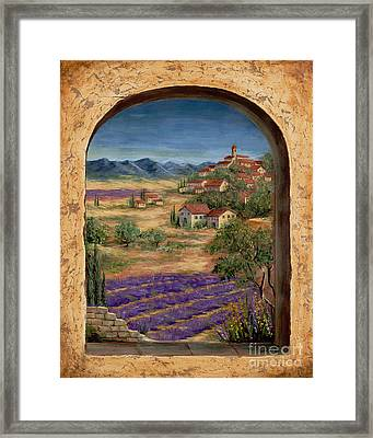 Lavender Fields And Village Of Provence Framed Print by Marilyn Dunlap