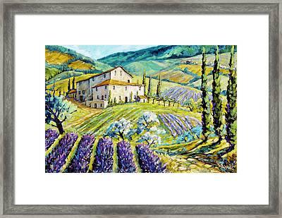 Lavender Hills Tuscany By Prankearts Fine Arts Framed Print by Richard T Pranke