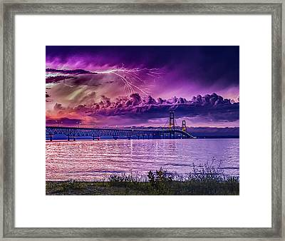 Lavender Storm Over The Mighty Mac Framed Print by J Thomas