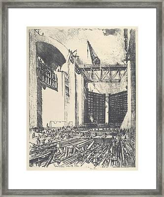 Laying The Floor Of Pedro Muguel Lock Framed Print by Joseph Pennell