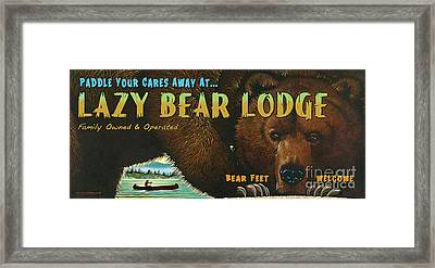Lazy Bear Lodge Sign Framed Print by Wayne McGloughlin