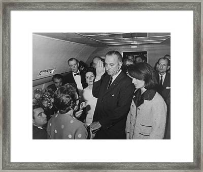 Lbj Taking The Oath On Air Force One Framed Print by War Is Hell Store