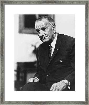 Lbj  Framed Print by War Is Hell Store