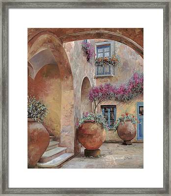 Le Arcate In Cortile Framed Print by Guido Borelli