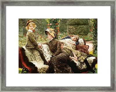 Le Blanc De Jardin Framed Print by James Joseph Tissot