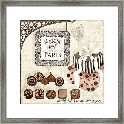 Le Chocolat Sucre Paris - Sweet Chocolate Paris Framed Print by Audrey Jeanne Roberts