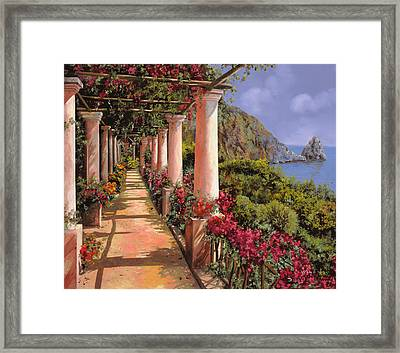 Le Colonne E La Buganville Framed Print by Guido Borelli