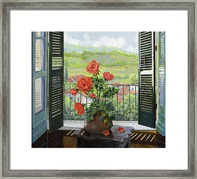 Le Persiane Sulla Valle Framed Print by Guido Borelli