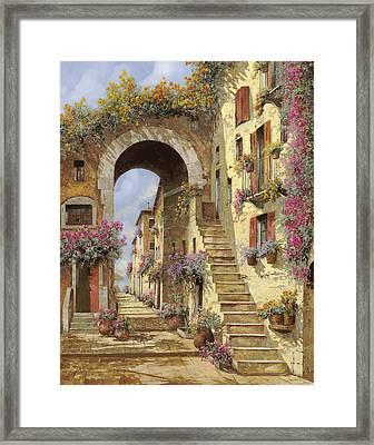 Le Scale E Un Arco Framed Print by Guido Borelli