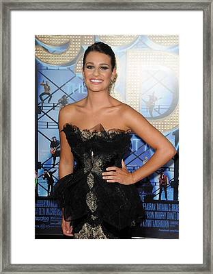 Lea Michele Wearing A Marchesa Dress Framed Print by Everett