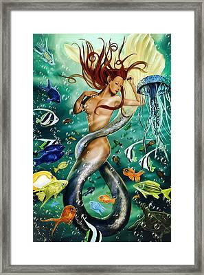 Lea The Mermaid Framed Print by Maggie Terlecki