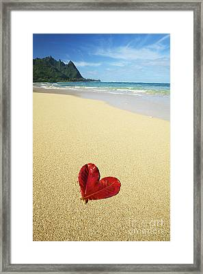 Leaf Heart On Beach Framed Print by Kicka Witte - Printscapes
