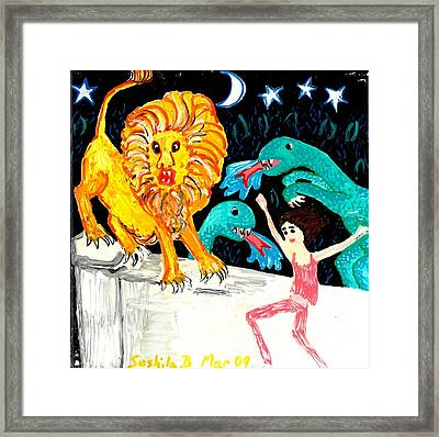 Leap Away From The Lion Framed Print by Sushila Burgess