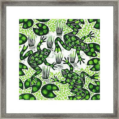 Leaping Frogs Framed Print by Nat Morley