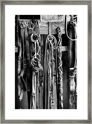 Leather And Metal  Framed Print by Wilma  Birdwell