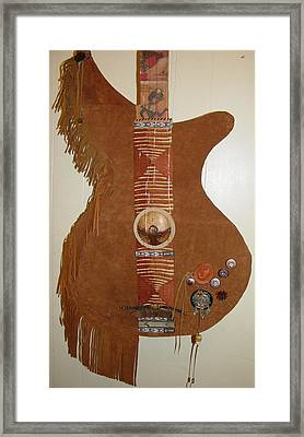 Leather Guitar Framed Print by Lorraine Stone