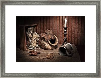 Leaves And Vessels By Candlelight Framed Print by Tom Mc Nemar
