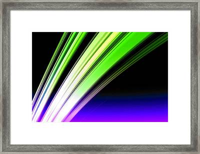 Leaving Saturn In Cobalt And Lime Framed Print by Pet Serrano