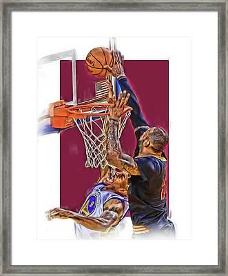 Lebron James Cleveland Cavaliers Oil Art Framed Print by Joe Hamilton