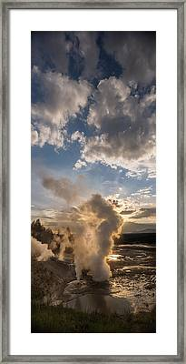 Ledge Geyser Yellowstone N P Framed Print by Steve Gadomski