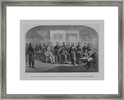 Lee Surrendering To Grant At Appomattox Framed Print by War Is Hell Store