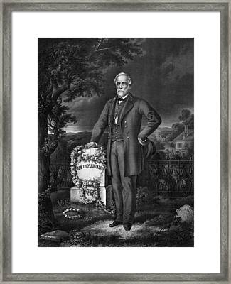 Lee Visits The Grave Of Stonewall Jackson Framed Print by War Is Hell Store