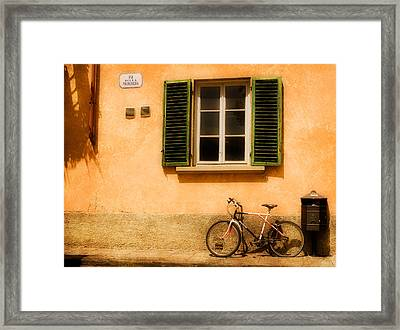Left Flat In Lucca Framed Print by Mick Burkey