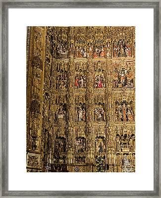 Left Half - The Golden Retablo Mayor - Cathedral Of Seville - Seville Spain Framed Print by Jon Berghoff