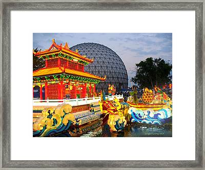 Legend Of The White Snake - Confrontation At Jinshan Temple Chinese Lantern Framed Print by Lingfai Leung