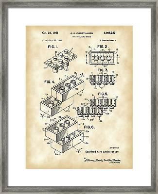 Lego Patent 1958 - Vintage Framed Print by Stephen Younts
