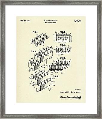 Lego Toy Building Brick-1961 Framed Print by Pablo Romero
