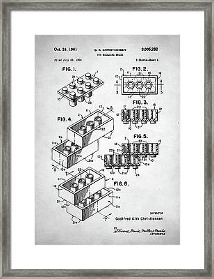Lego Toy Building Brick Patent Framed Print by Taylan Soyturk