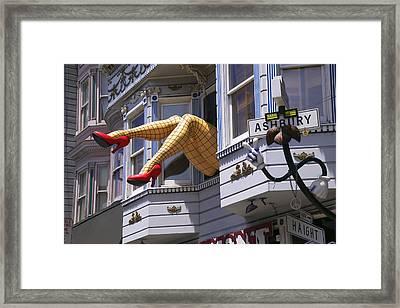Legs In Window Sf Framed Print by Garry Gay