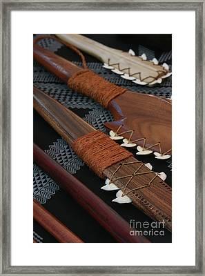 Lei O Mano Hawaiian Koa Shark Teeth Dagger And War Clubs Framed Print by Sharon Mau
