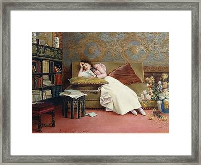 Leisure Hours Framed Print by Georges Croegaert
