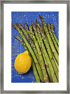Lemon And Asparagus  Framed Print by Garry Gay