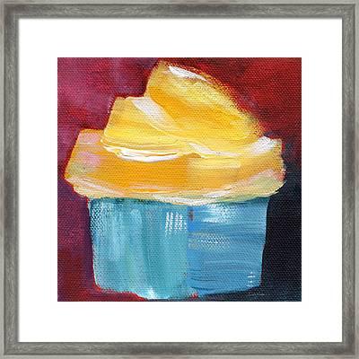 Lemon Cupcake- Art By Linda Woods Framed Print by Linda Woods