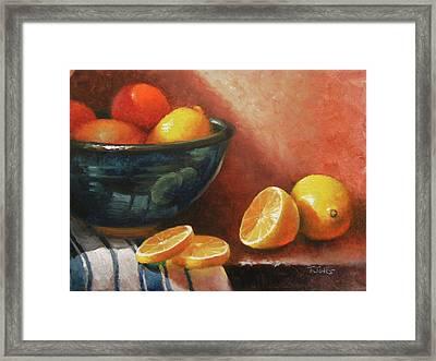 Lemons And Ceramic Bowl Framed Print by Timothy Jones