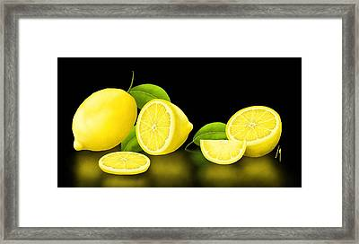 Lemons-black Framed Print by Veronica Minozzi