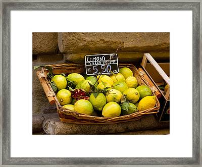 Lemons For Sale Framed Print by Rae Tucker