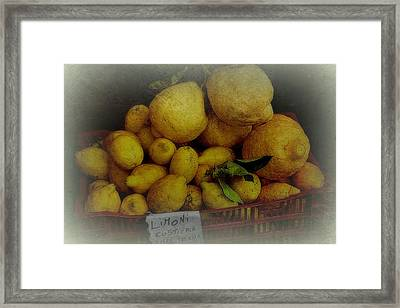 Lemons In Red Basket Framed Print by Toni Abdnour