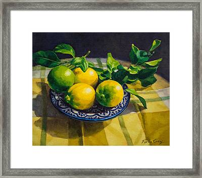 Lemons On Moroccan Plate Framed Print by Fiona Craig