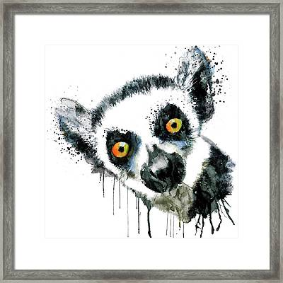 Lemur Head  Framed Print by Marian Voicu