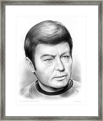 Leonard Mccoy Framed Print by Greg Joens