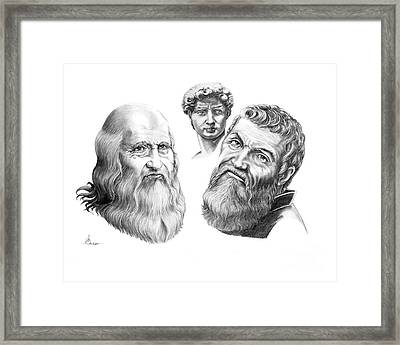 Leonardo And Michelangelo Framed Print by Murphy Elliott