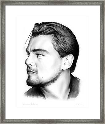 Leonardo Dicarprio Framed Print by Greg Joens